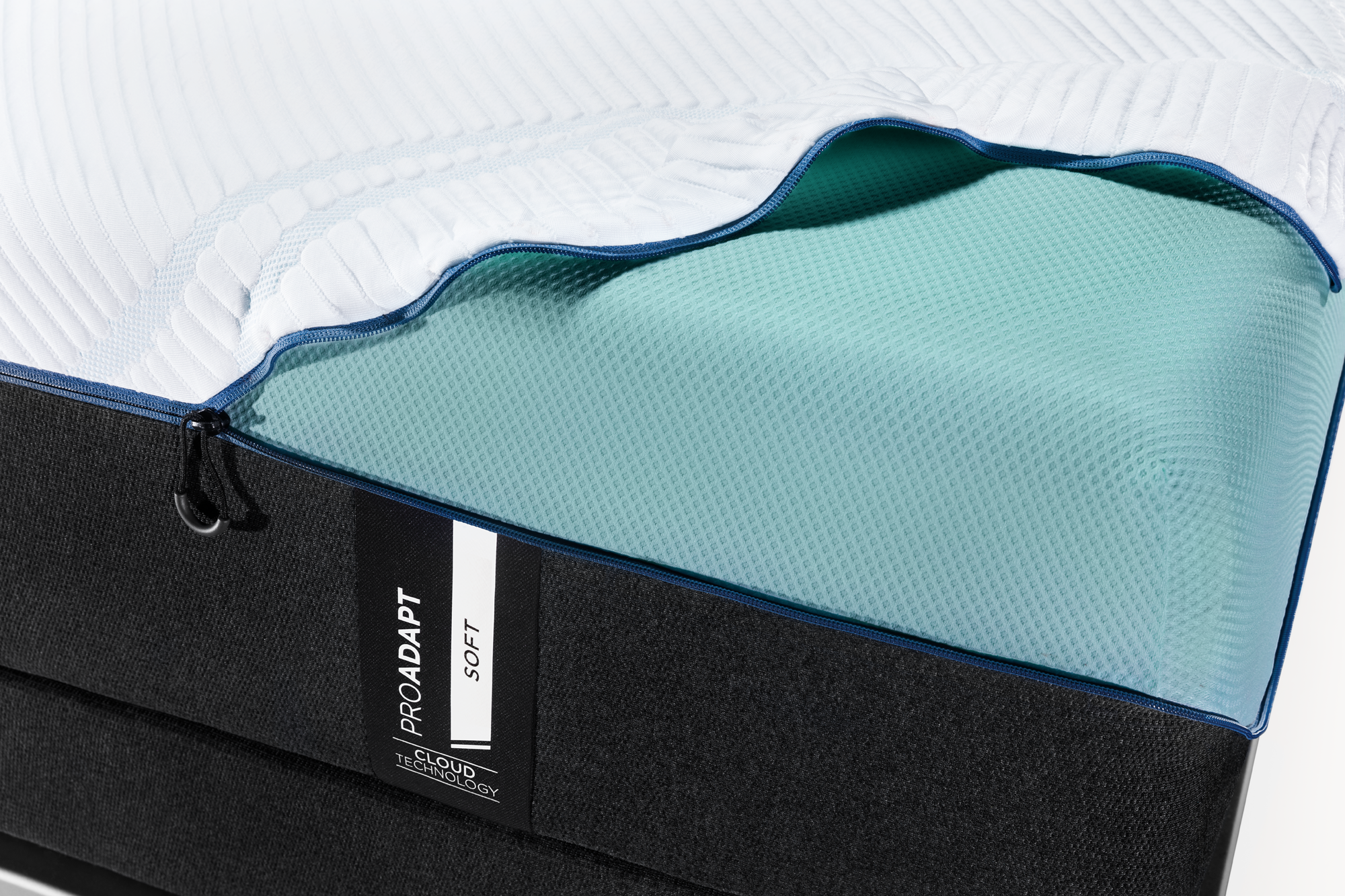 a top cover unzipped , folded over the corner of a ProAdapt Soft mattress