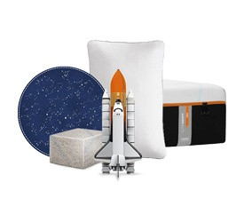 Collage showing a NASA space shuttle, Tempur Material and Tempur-pedic products.