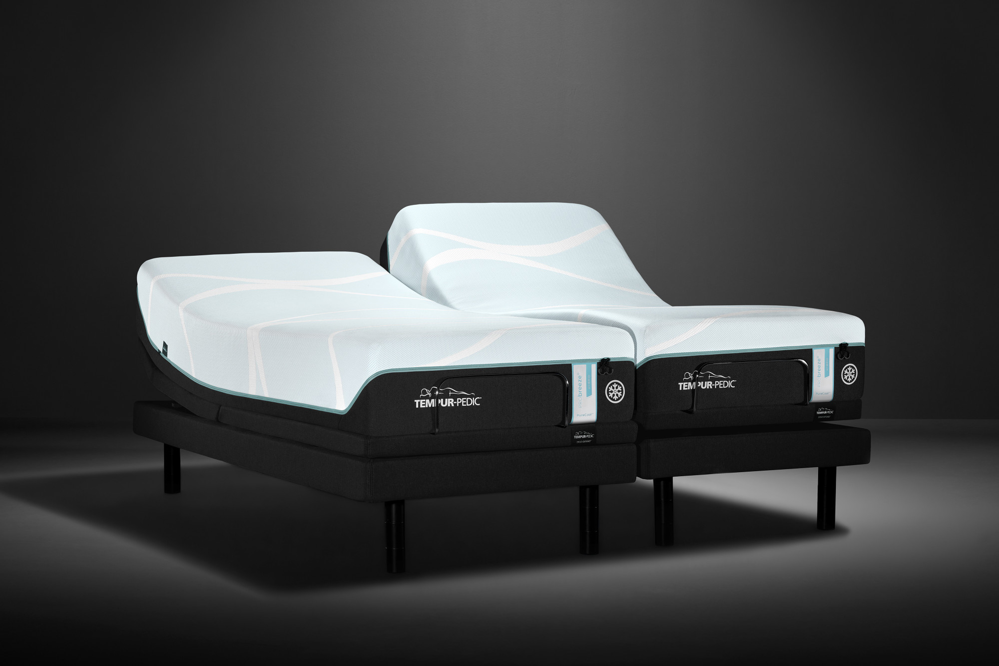 A tempur-probreeze mattress on a split-king tempur-ergo extend adjustable power base