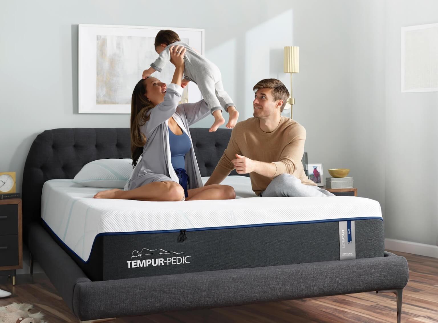 Family Playing on Tempur-Pedic mattress