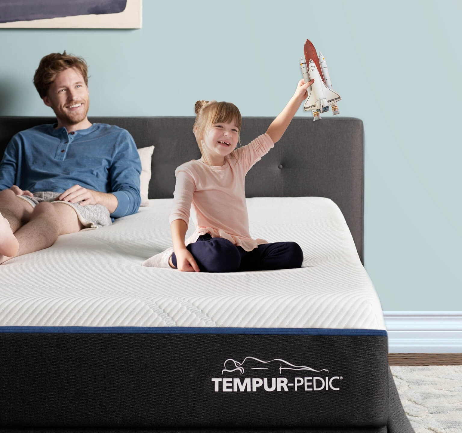 Tempur-proadapt medium feel mattress on a base in a store